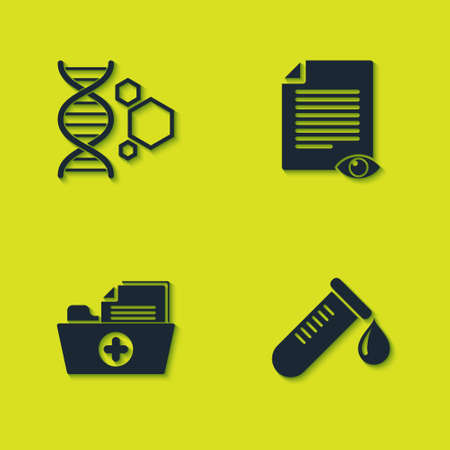 Set Genetic engineering, Test tube with drop of blood, Health record folder and Paper page eye icon. Vector