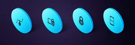 Set Isometric Mobile and password, Safe combination lock wheel, Laptop with and Bezier curve icon. Vector