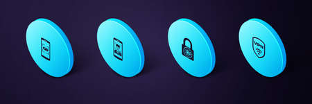 Set Isometric Shield with VPN wireless, Safe combination lock wheel, Mobile and face recognition and eye scan icon. Vector