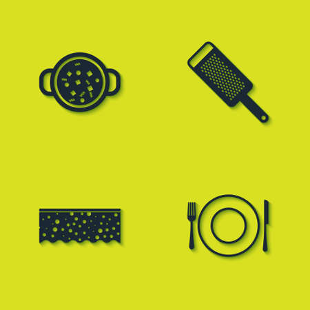 Set Cooking soup in pot, Plate, fork and knife, Sponge with bubbles and Grater icon. Vector Иллюстрация