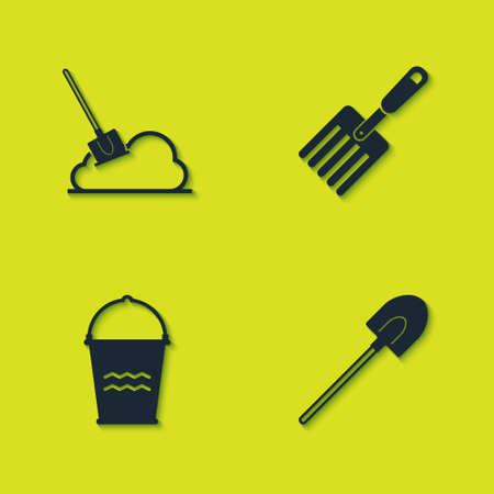 Set Shovel in the ground, Garden shovel, Bucket and fork icon. Vector
