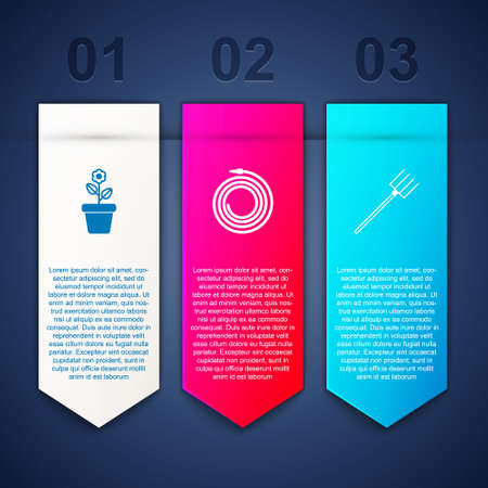 Set Flower in pot, Garden hose or fire hose and pitchfork. Business infographic template. Vector