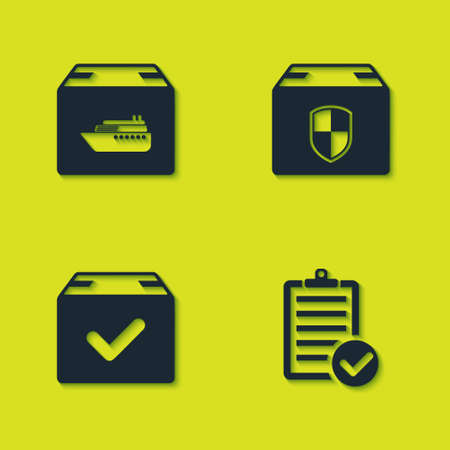 Set Cargo ship with boxes, Verification of delivery list, Package check mark and Delivery security shield icon. Vector