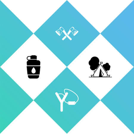 Set Canteen water bottle, Slingshot, Crossed wooden axe and Tourist tent with flag icon. Vector