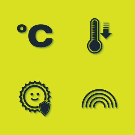 Set Celsius, Rainbow, UV protection and Meteorology thermometer icon. Vector