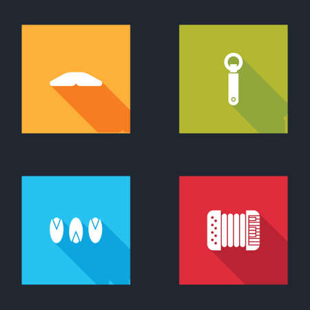 Set Homemade pie, Bottle opener, Pistachio nuts and Accordion icon. Vector