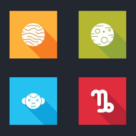 Set Planet Venus, Mars, Monkey zodiac and Capricorn icon. Vector