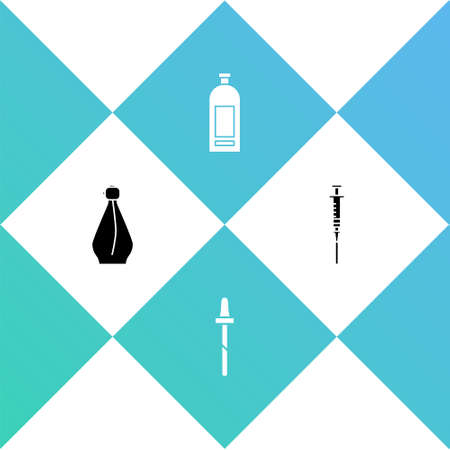 Set Perfume, Pipette, Bottle of shampoo and Syringe icon. Vector