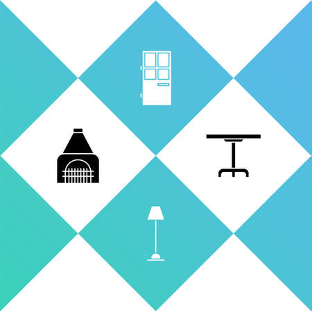 Set Interior fireplace, Floor lamp, Closed door and Round table icon. Vector