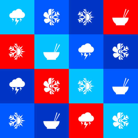 Set Storm, Air conditioner, Sun and snowflake and Bowl with chopsticks icon. Vector