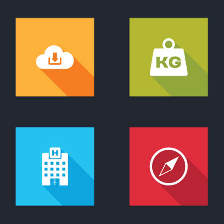 Set Cloud download, Weight, Medical hospital building and Wind rose icon. Vector