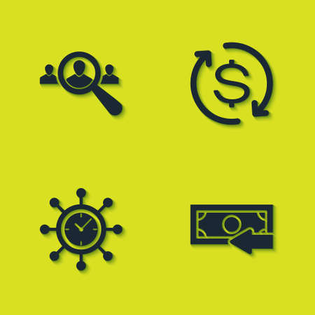 Set Magnifying glass for search people, Cash back, Clock and gear and Return of investment icon. Vector