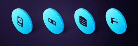 Set Isometric Water tap, Database, Stereo speaker and Hard disk drive HDD icon. Vector