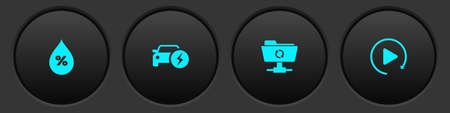Set Water drop percentage, Electric car, FTP sync refresh and Video play button icon. Vector