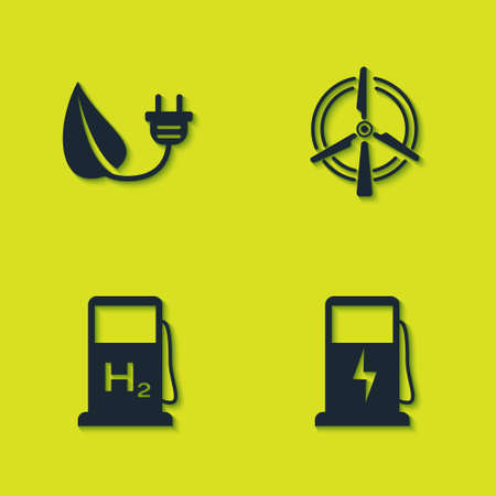 Set Electric saving plug in leaf, car charging station, Hydrogen filling and Rotating wind turbine icon. Vector