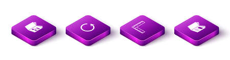 Set Isometric Audio book, Refresh, Folding ruler and Open icon. Vector
