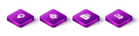 Set Isometric Location service, Headphones with speech bubble chat, Drawer documents and Office folders icon. Vector