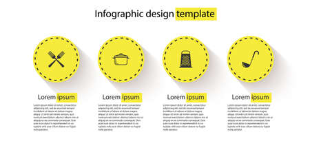 Set Crossed fork, Cooking pot, Grater and Kitchen ladle. Business infographic template. Vector