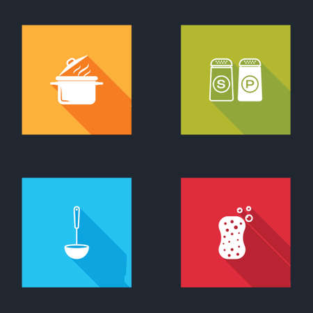 Set Cooking pot, Salt and pepper, Kitchen ladle and Sponge with bubbles icon. Vector