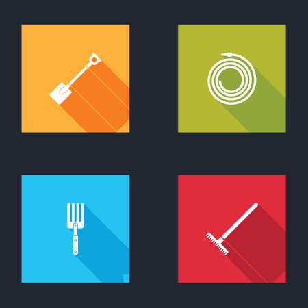 Set Garden shovel, hose or fire hose, fork and rake icon. Vector