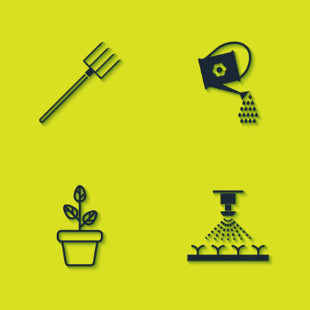 Set Garden pitchfork, Automatic irrigation sprinklers, Flowers pot and Watering can icon. Vector