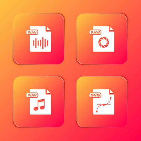 Set WAV file document, RAW, and SVG icon. Vector