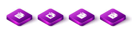 Set Isometric MP4 file document, WMA, SVG and XSL icon. Vector