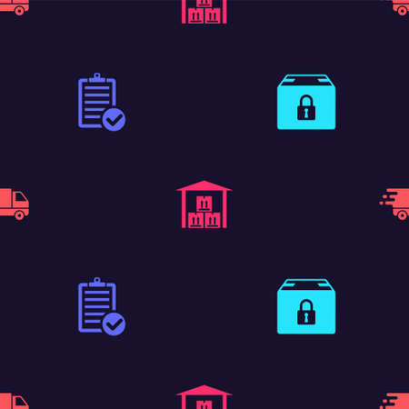 Set Locked package, Verification of delivery list, Warehouse and Delivery truck in movement on seamless pattern. Vector