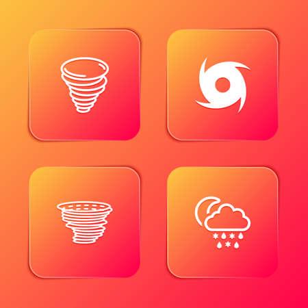 Set Tornado, , and Cloud with snow, rain, moon icon. Vector