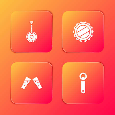 Set Banjo, Bottle cap, Glass of beer and opener icon. Vector