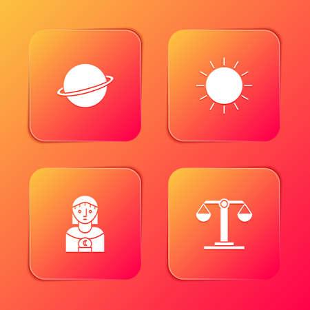 Set Planet Saturn, Sun, Astrology woman and Libra zodiac icon. Vector