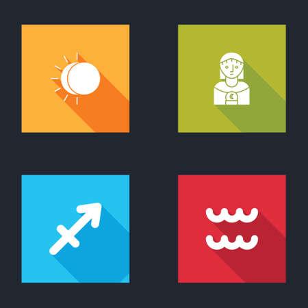 Set Eclipse of the sun, Astrology woman, Sagittarius zodiac and Aquarius icon. Vector