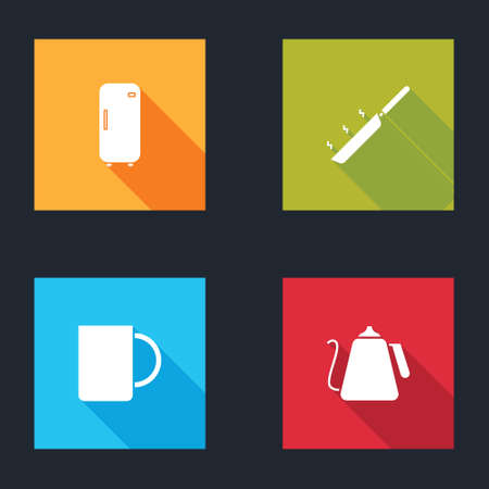 Set Refrigerator, Frying pan, Coffee cup and Kettle with handle icon. Vector