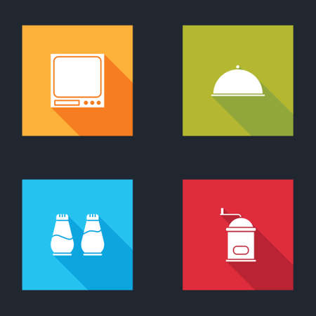 Set Electronic scales, Covered with tray, Salt and pepper and Manual coffee grinder icon. Vector