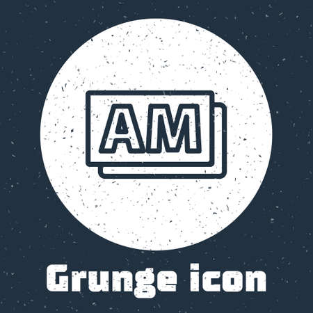 Grunge line Clock AM icon isolated on grey background. Time symbol. Monochrome vintage drawing. Vector Çizim