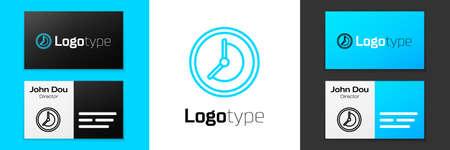 Blue line Clock icon isolated on white background. Time symbol. Çizim