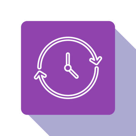 White line Clock icon isolated on white background. Time symbol. Purple square button. Vector