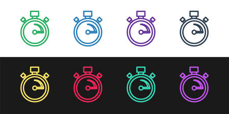 Set line Stopwatch icon isolated on black and white background. Time timer sign. Chronometer sign. Vector
