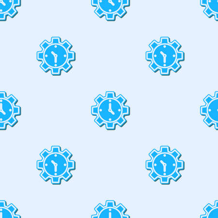 Blue line Time Management icon isolated seamless pattern on grey background. Clock and gear sign. Productivity symbol. Vector