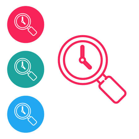 Red line Magnifying glass with clock icon isolated on white background. Set icons in circle buttons. Vector