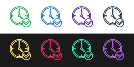Set line Clock icon isolated on black and white background. Time symbol. Vector