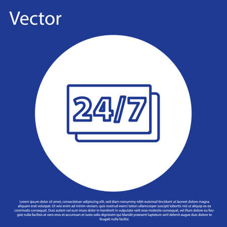 Blue line Clock 24 hours icon isolated on blue background. All day cyclic icon. 24 hours service symbol. White circle button. Vector