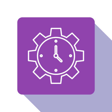 White line Time Management icon isolated on white background. Clock and gear sign. Productivity symbol. Purple square button. Vector Çizim
