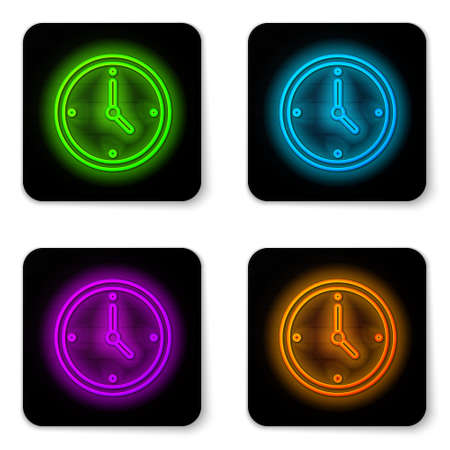 Glowing neon line Clock icon isolated on white background. Time symbol. Black square button. Vector Çizim
