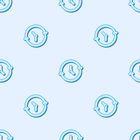 Blue line Clock icon isolated seamless pattern on grey background. Time symbol. Vector