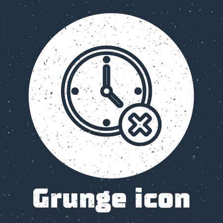 Grunge line Clock delete icon isolated on grey background. Time symbol. Monochrome vintage drawing. Vector Çizim