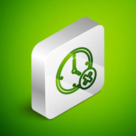 Isometric line Clock delete icon isolated on green background. Time symbol. Silver square button. Vector