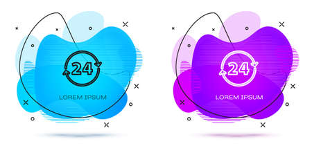 Line Clock 24 hours icon isolated on white background. All day cyclic icon. 24 hours service symbol. Abstract banner with liquid shapes. Vector Çizim
