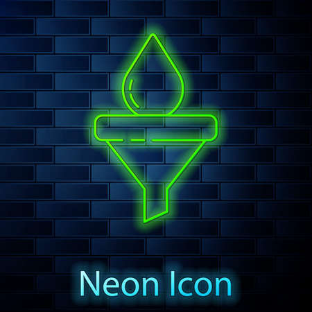 Glowing neon line Funnel or filter and motor oil drop icon isolated on brick wall background. Vector
