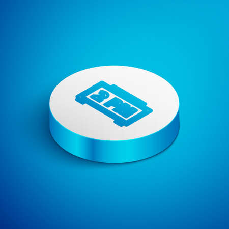Isometric line Digital alarm clock icon isolated on blue background. Electronic watch alarm clock. Time icon. White circle button. Vector